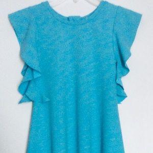 deux par deux(7Y)GIRLS SHIFT Dress, Raffles Sleeve